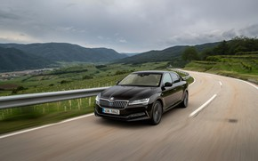 Picture road, the fence, sedan, Skoda, Skoda, four-door, Superb, 2020, the color is a dark unfiltered …