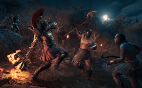 Picture night, fire, battle, Assassin's Creed, Odyssey, Odyssey, Assassins Creed, Gamescom 2018