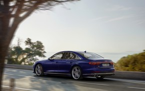 Picture blue, movement, Audi, sedan, side, Audi A8, Audi S8, 2020, 2019, V8 Biturbo