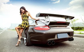 Picture auto, smile, Girls, Porsche, Asian, beautiful girl, posing on the car