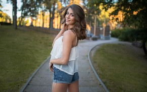 Picture look, trees, pose, smile, Park, lawn, model, shorts, portrait, makeup, hairstyle, track, blouse, brown hair, …