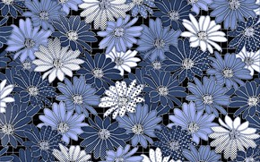 Picture flowers, blue, background, Background, Pattern, Floral