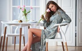 Picture flowers, pose, hair, Girl, dress, Sergey Yakubitskiy, Pauline Archer
