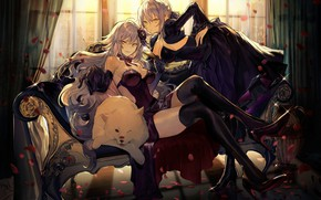 Picture girls, room, chair, anime, art, Fate