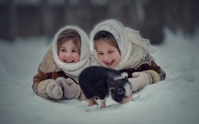 Picture winter, snow, joy, children, mood, girls, laughter, pig, two girls