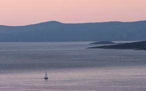 Picture sea, Islands, coast, boat, morning, sail, haze, haze, Croatia, Hvar and Pakleni Islands