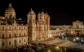 Picture night, lights, Italy, Cathedral, Sicily, Noto