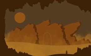 Picture mountains, rocks, desert, the wanderer