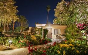 Wallpaper the sky, trees, flowers, night, lights, house, palm trees, stars, garden, lights, CA, track, USA, ...