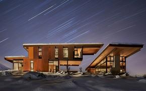 Picture light, snow, house, Windows, house, star, modern, night, winter, snow, window, modern, Starfall, starfall