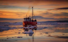 Picture sea, sunset, ship, ice