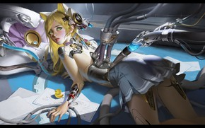 Picture robot, anime, art, charging, LAO WANG, ARTWORK