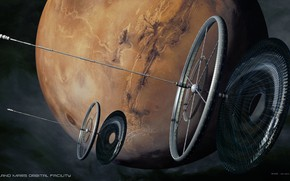 Picture space, planet, Prometheus, orbital solar arrays, weyland mars