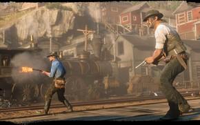 Picture rails, train, hat, revolver, Rockstar, Bandit, Red Dead Redemption 2, Arthur Morgan