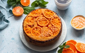 Picture cake, tangerines, tangerine