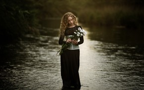 Picture flowers, river, girl, Paola