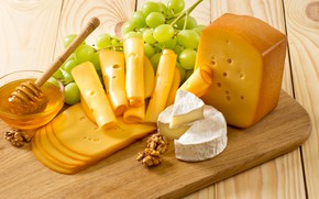 Picture table, cheese, grapes, Board, honey, walnut