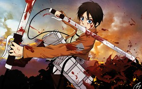 Picture weapons, blood, Sunset, anime, art, guy, Shingeki no Kyojin, Eren Yeager, Attack of the titans, …