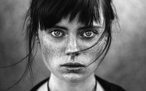Picture portrait, freckles, monochrome, Andrey Lobodin