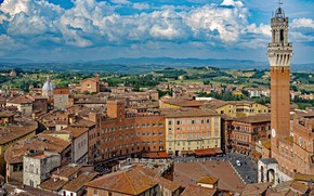 Picture clouds, building, tower, home, area, Italy, panorama, Italy, Tuscany, Tuscany, Siena, Siena, The Piazza del …