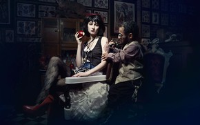 Picture woman, man, FAIRY FATALES, tattooing, SNOW WHITE