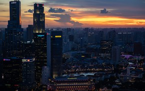 Picture city, lights, China, twilight, sky, sunset, clouds, evening, Singapore, buildings, skyscrapers, cityscape, The Fullerton Hotel