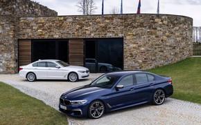 Picture white, lawn, BMW, Parking, hybrid, 5, dark blue, 2017, 5-series, G30, sedans, M550i xDrive, M-performance, …