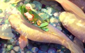 Picture water, children, boat, fantasy, carp