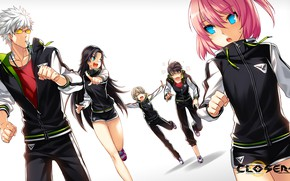 Picture girls, the game, art, white background, guys, closers