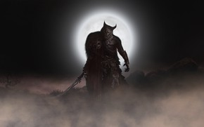 Picture Night, The moon, Sword, Wolf, Moon, Darkness, Fantasy, Werewolf, Horror, Darkness, Night, Fiction, Wolf, Horror, …