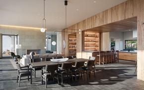 Picture Villa, interior, kitchen, living room, dining room