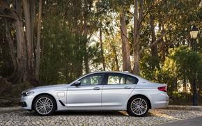 Picture grey, BMW, lantern, Parking, sedan, hybrid, 5, four-door, 2017, 5-series, G30, 530e iPerformance