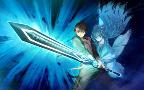 Picture girl, sword, guy, anime, art, Deep One, gsmes