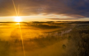 Picture the sun, light, trees, fog, river, dawn, hills, view, height, morning, haze, Bank, the
