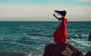 Picture sea, girl, rock, the wind, dress