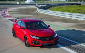 Picture red, speed, Honda, track, hatchback, the five-door, 2019, Civic Type R, 5th gen, FK8