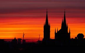 Picture Austria, silhouette, Church, glow, spire, Vienna