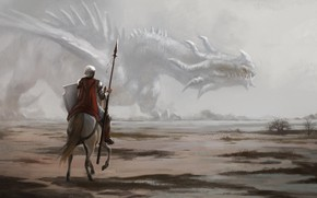 Picture dragon, horse, warrior, spear
