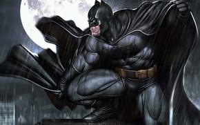 Picture The moon, Rain, Moon, Comic, Art, Batman, Night, Rain, DC Comics, The shower, Character, Characters, ...