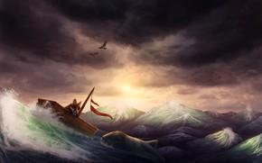 Picture sea, birds, ship, fish, Fox, by CreeperMan0508