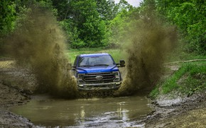 Picture blue, Ford, puddle, pickup, Super Duty, F-250, Tremor, 2020, Off-Road Package, F-series