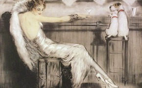 Picture woman, Martini, glass, dogs, Louis Icart