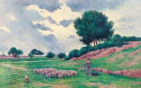 Picture animals, landscape, picture, Maximilien Luce, Maximilien Luce, The méréville. A Flock Of Sheep, 1902-03
