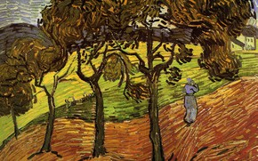 Picture the maid, Vincent van Gogh, Landscape with, four trees, Trees and Figures