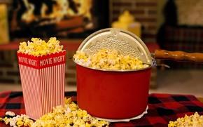 Picture room, fireplace, plaid, food, popcorn, room, popcorn