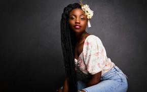 Picture easy, pose, model, flowers in her hair, beautiful girl, model, simplicity, beautiful girl, pose, femininity, …