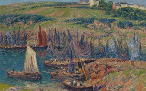 Picture landscape, picture, boats, Henri Sea, Henry Moret, Fishers of Sardines in Dosane