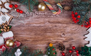 Picture decoration, Christmas, gifts, New year, new year, Christmas, wood, decoration, fir tree, fir-tree branches
