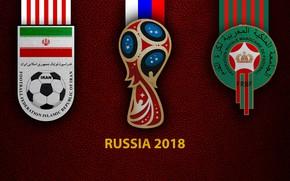 Picture wallpaper, sport, logo, football, FIFA World Cup, Russia 2018, Iran vs Morocco