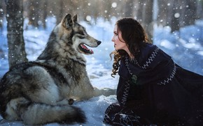 Picture winter, forest, language, purple, girl, snow, trees, grey, trunks, wolf, brunette, mouth, the snow, lies, …